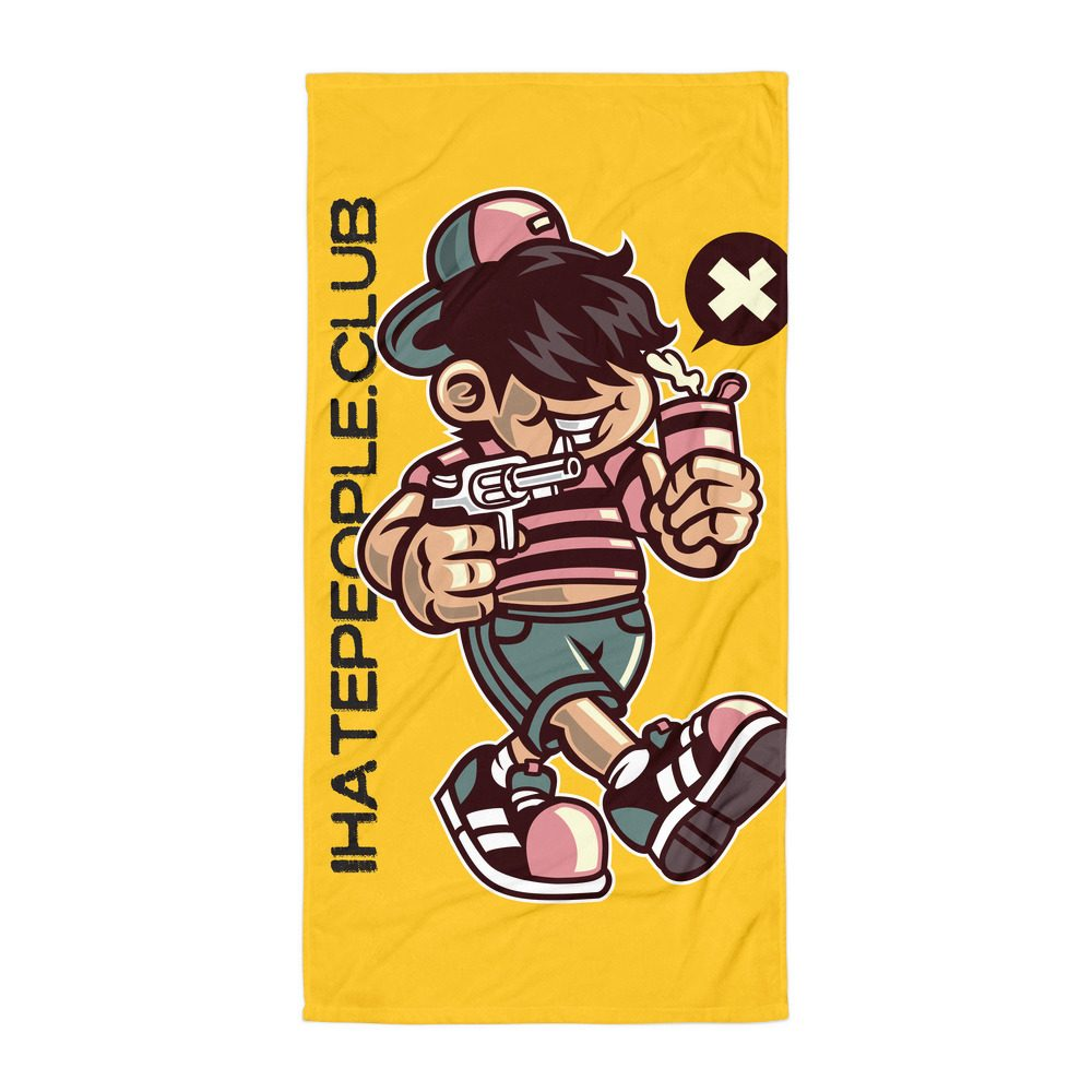 Gun Kid I Hate People Beach Towel