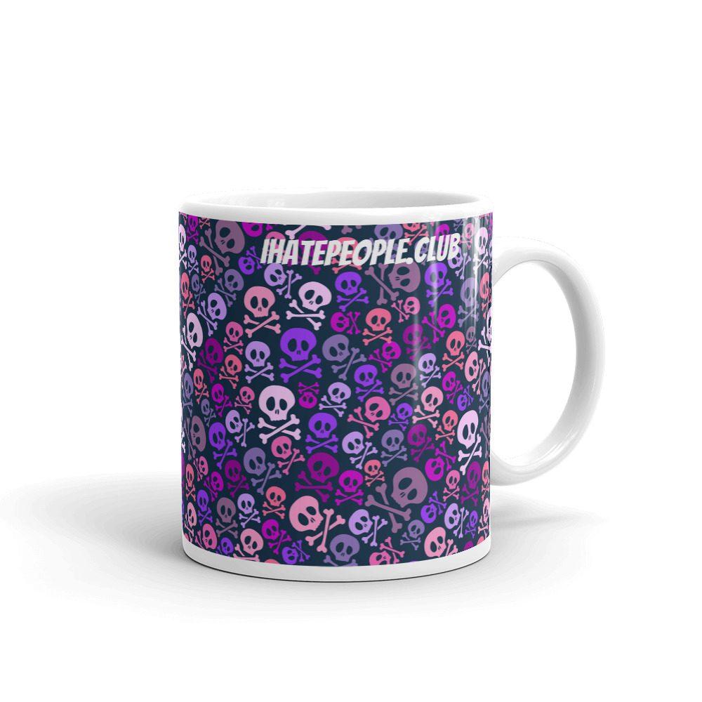 I Hate People Club Pink Skulls Coffee Mug